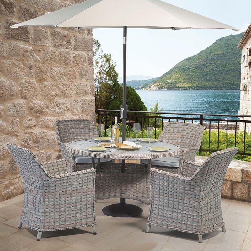 Venice 4 Seater Round Dining Garden Set Outdoor Garden Furniture